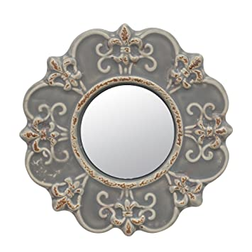 Amazon.com: Stonebriar Decorative Round Antique Gray Ceramic Wall ...
