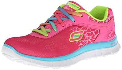Details about Skechers NeonPink Textile Memory Foam Trainers Serengeti