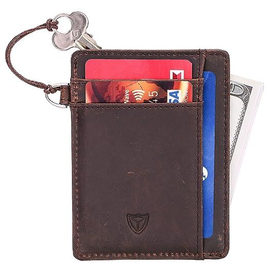 fad428f3009a90 Men Slim Front Pocket Minimalist Wallet RFID blocking Credit Card Holder Genuine  Leather (Coffee)