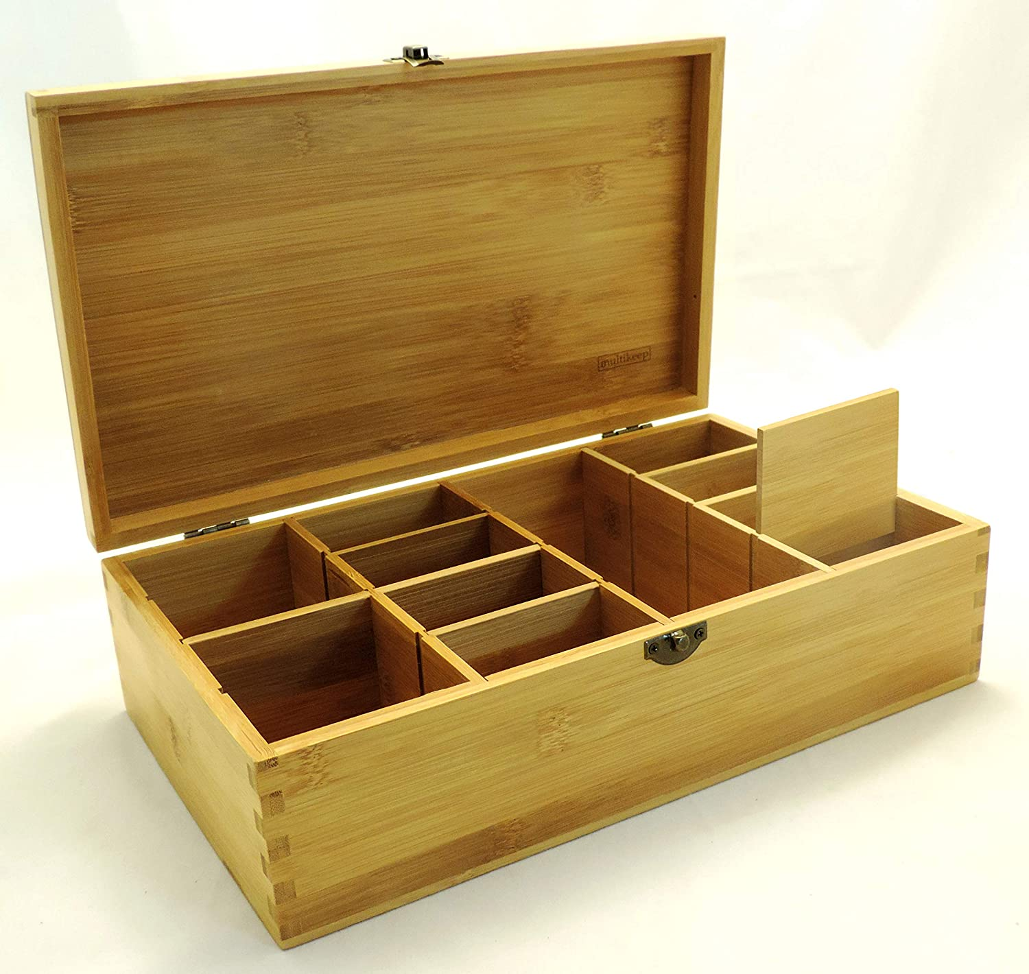 Unfinished Wooden Deck Box with Adjustable Dividers to Organize Your Cards