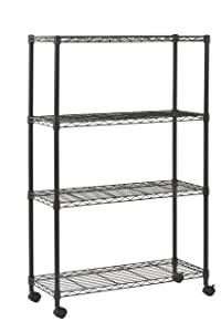 "Sandusky MWS361454 Mobile Commercial Wire Shelving, 54"" Height x 36"" Width x 14"" Depth, 4 Shelves, Black"