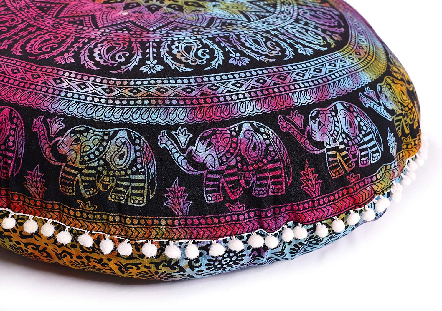 Hemsi-77 Indian Mandala Elephant Pillow - Cushion Cover - Pouf Cover Round Bohemian Yoga Decor Floor Cushion Case- 32'' Tie Dye by Hemsi-77