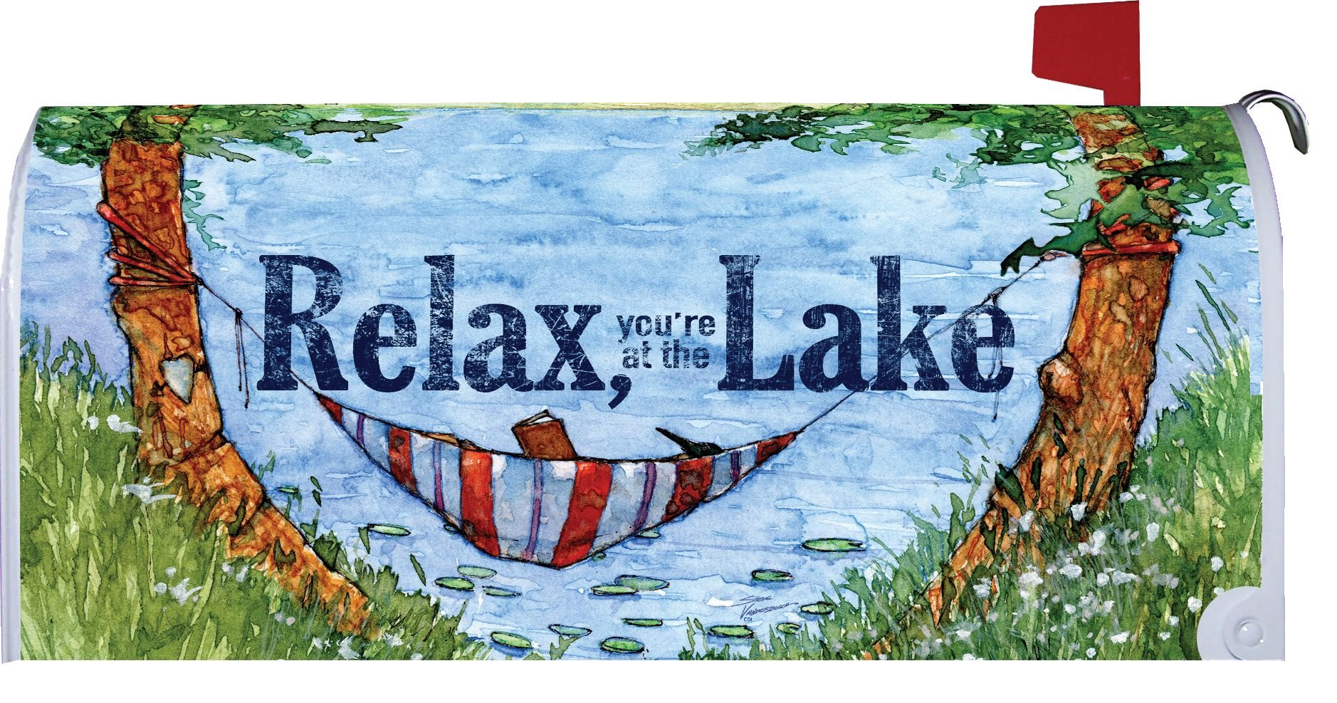 Relax at the Lake - Mailbox Makeover - Vinyl with Magnetic Strips - Licensed, Copyrighted and Made in the USA by Custom Decor Inc.