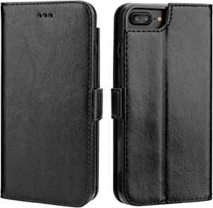 Vaburs iPhone 7 Plus Flip Case iPhone 8 Plus Wallet Case with Card Holder, Premium PU Leather Kickstand Shockproof Protective Cover for iPhone 7/8 Plus 5.5 Inch(Black)