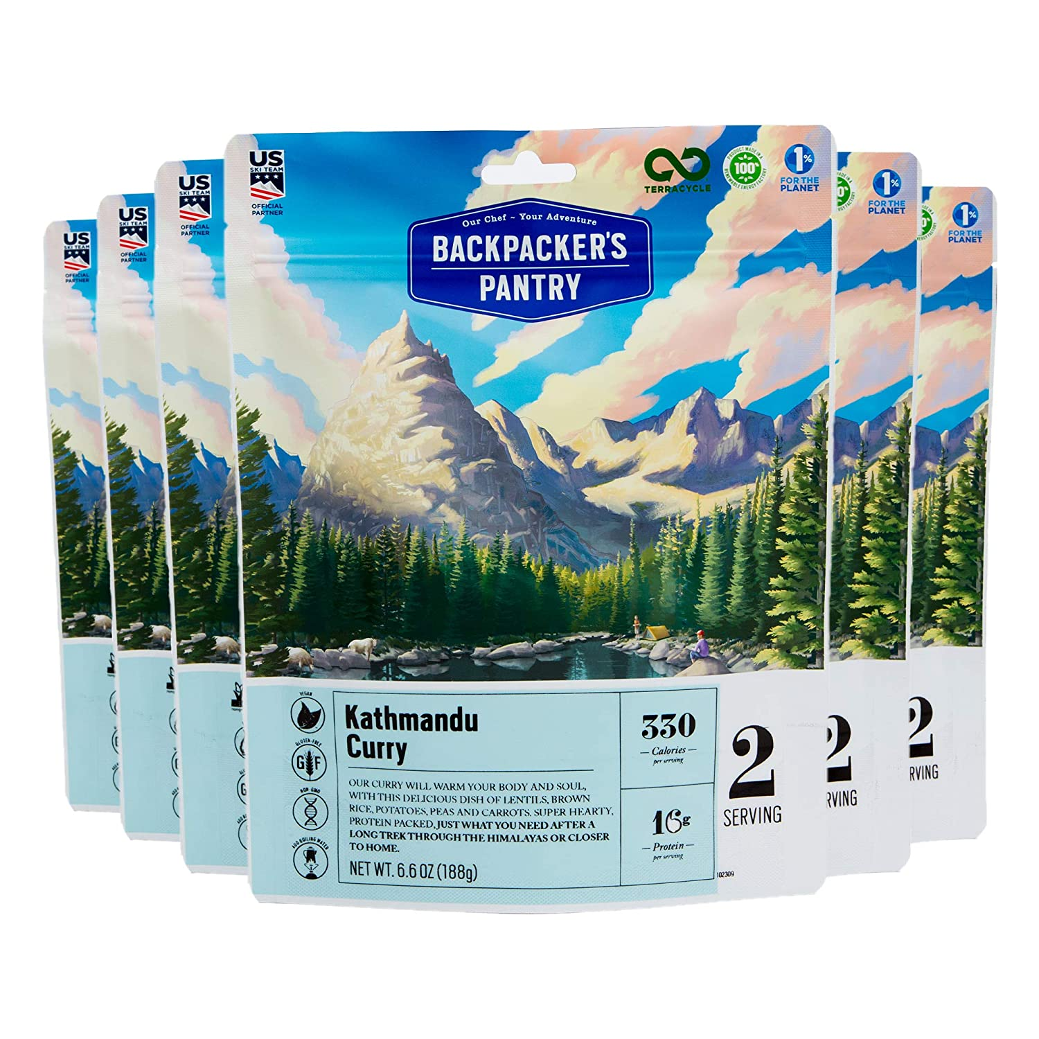 Backpacker's Pantry Kathmandu Curry, 2 Servings Per Pouch (6 Count), Freeze Dried Food, 16 Grams of Protein, Vegan, Gluten Free