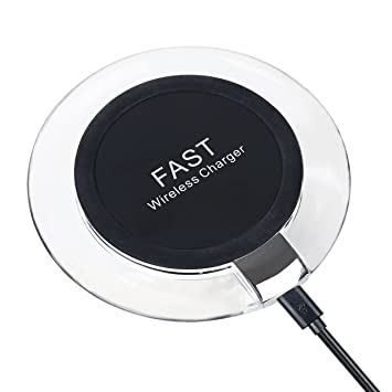 Cargador Inalámbrico Rápido, HAISSKY Wireless Quick Charger Carga Rápida para Móviles con QI Disponibles como iPhone X /8/8 Plus ,Samsung Galaxy S8 ...