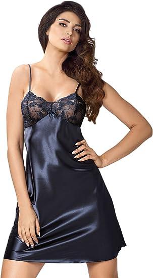 Selente Sweet Dreams élégant PyjamaChemise de Nuit Femme en Satin avec Bandeau pour Les Yeux. Fabriqué dans l'UE