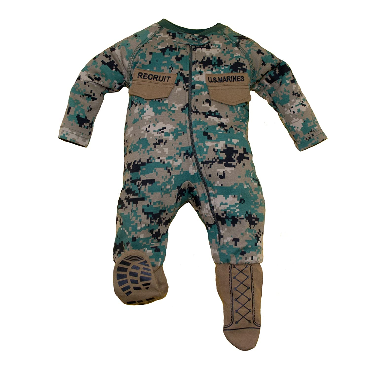 TC U.S.M.C. Baby Boys Woodland Camo Crawler With Recruit Boots