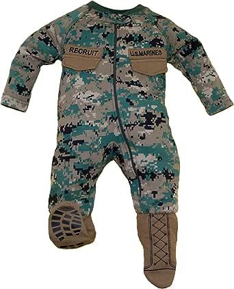 TC U.S.M.C. Baby Boys Woodland Camo Crawler with Recruit Boots