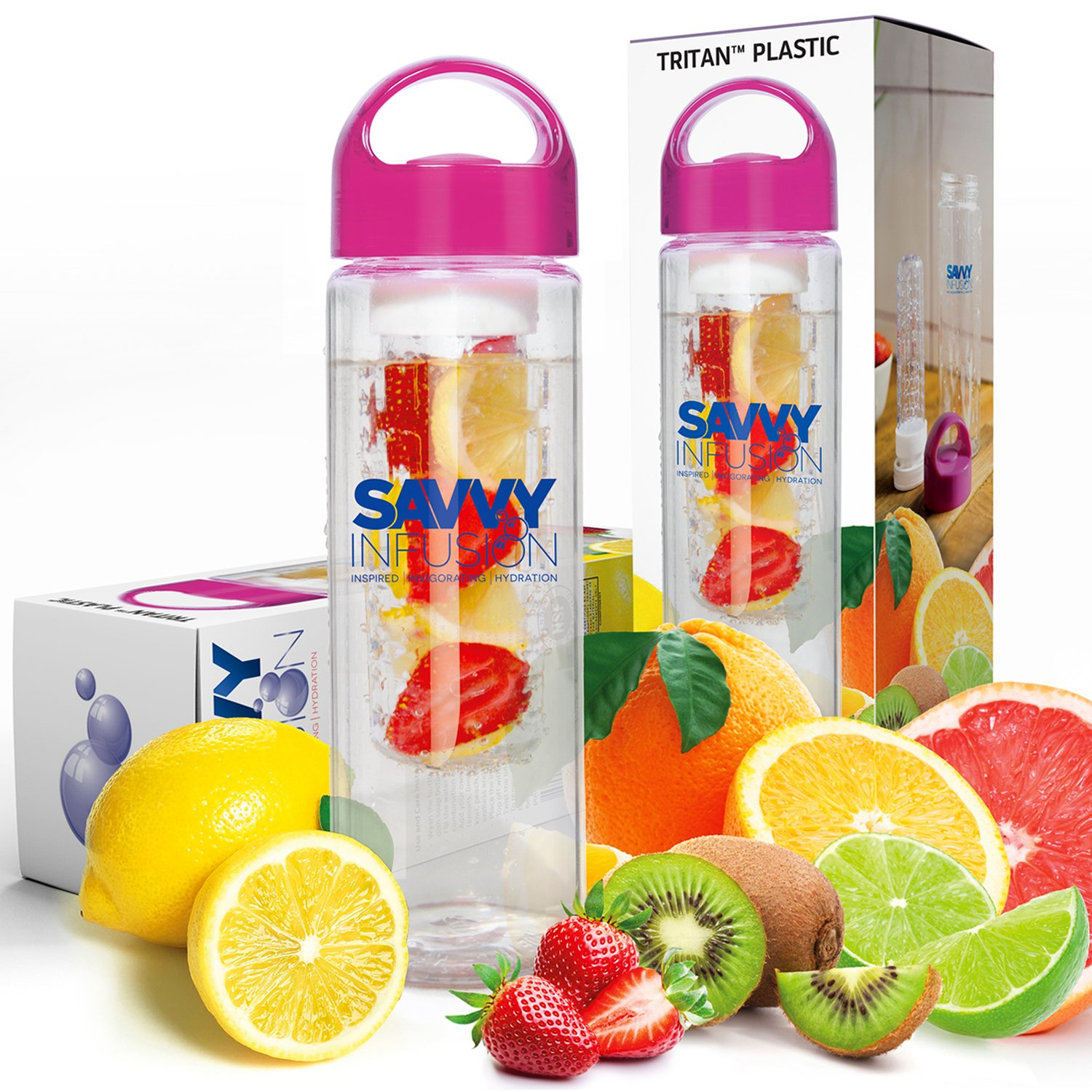 Savvy Infusion Water Bottle - 24 Oz - Create Your Own Naturally Flavored Fruit Infused Water, Juice, Iced Tea, Lemonade & Sparkling Beverages - Choice of Dazzling Infuser Colors