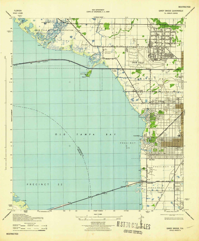Amazon.com: YellowMaps Gandy Bridge FL topo map, 1:31680 Scale, 7.5 ...