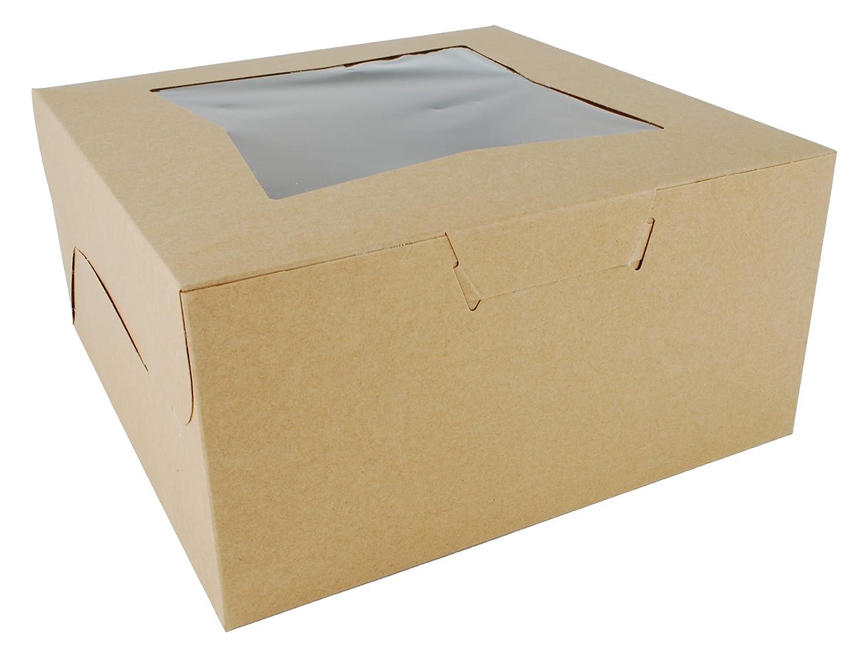 Southern Champion Tray 23053K Kraft Paperboard Lock Corner Window Bakery Box, 10