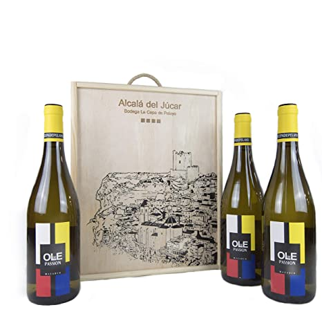 Estuche madera 3 botellas OLE DE PASSION Vino Blanco Joven ...