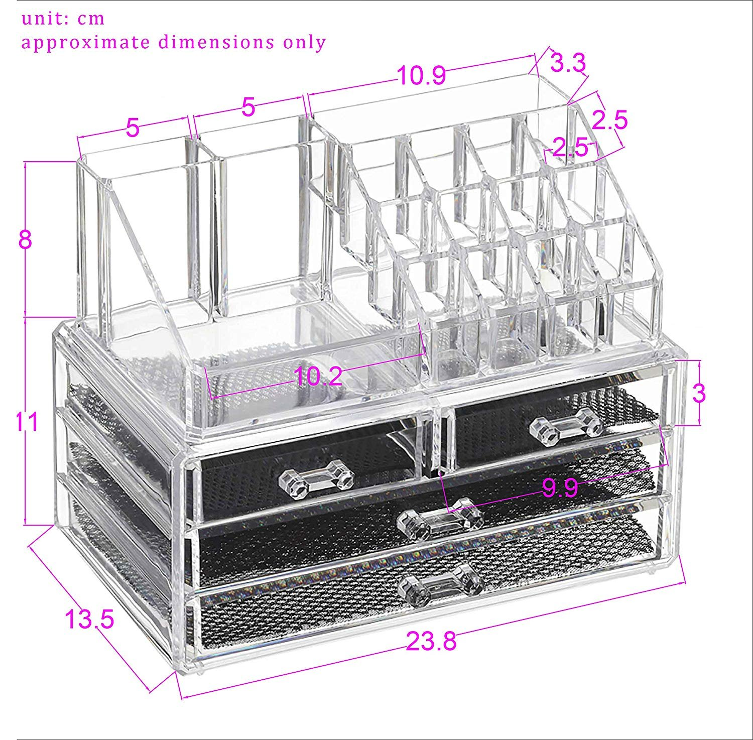 a33ec674e8f4 boby Clear Acrylic Cosmetic Makeup Storage Jewelry Drawer Organizer for  Bathroom Countertop Vanity Organizer