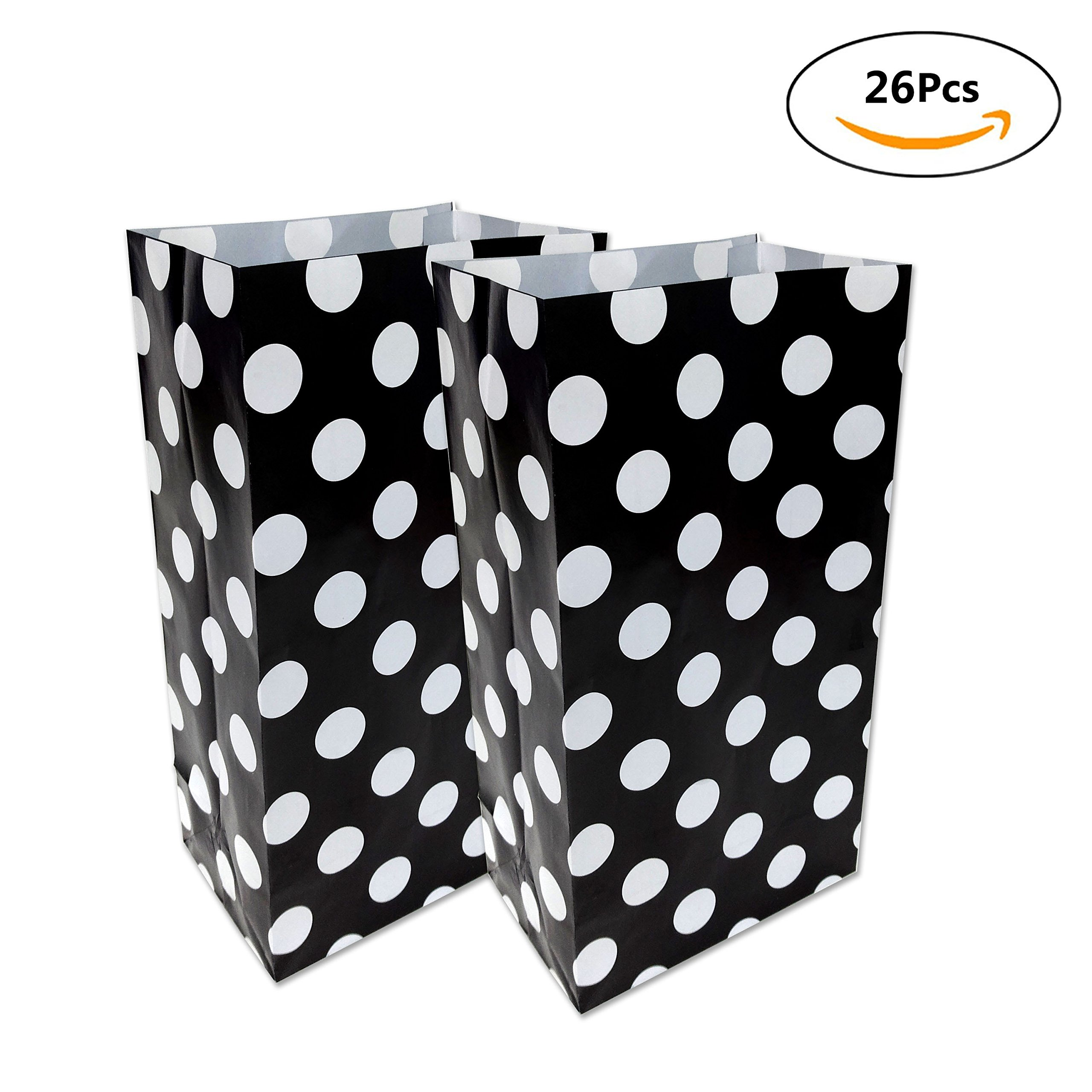 Paper Bags for Kids - 26 Pack Black/White Dot Style Party Bags for Birthday Party Goodies, Classroom Party Treat, Paper Treat Bags, 10 x 5.25 x 3.25 inches by WEEPA