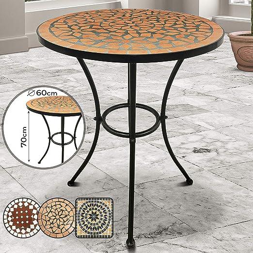 Table de Jardin Mosaïque - Ronde, Ø/H: 60x70cm, Terracotta Noir - Design au  Choix - Table Guéridon, Bistrot, Terrasse, Balcon