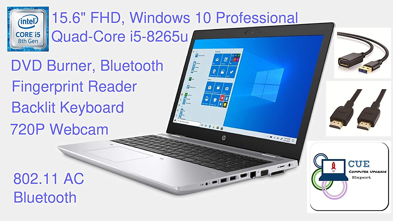 "HP Probook 650 G5 Premium Business Laptop, 15.6"" FHD, Quad Core i5-8265u, DVD Burner, FP Reader, BT, HDMI, Win10 Professional + CUE Accessories (8GB DDR4, 256GB SSD)"