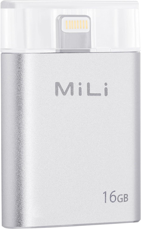 USB Flash Drive [Apple MFi Certified] MiLi iData 16GB Portable Storage USB Flash Drive Specialized for iPhone 6/6 plus/5/5s/5c/ipad 4/ipad Mini/i Mac/iPod with Lightning Device - Silver