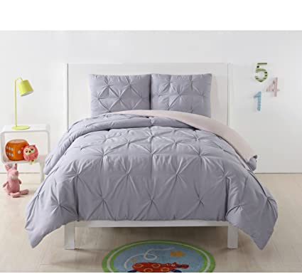 Bedding Pleated Comforter Set Blush Gray Twin Xl Kids 3 Piece Reversible Bedroom Bedding Home & Garden