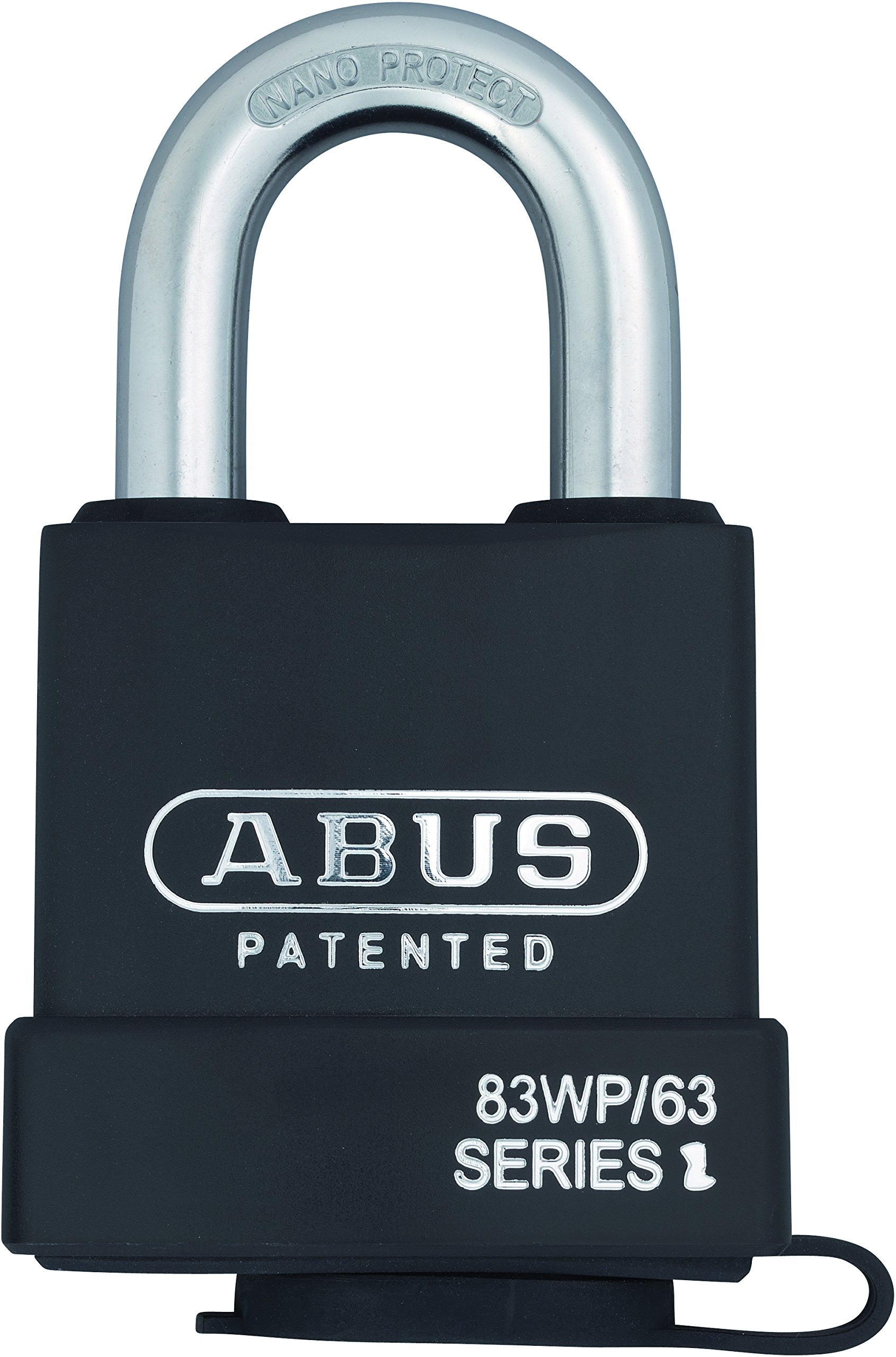 Abus 83WP-IC/63 S2 SFIC Small Format Interchangeable Core Weather Proof Solid Steel Rekeyable Padlock w/o core with 1.375 Inch Shackle