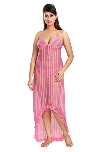 1730edede9 Cinco Women s Sexy See-Through Satin Nighty - CCN236 Pink  Amazon.in   Clothing   Accessories