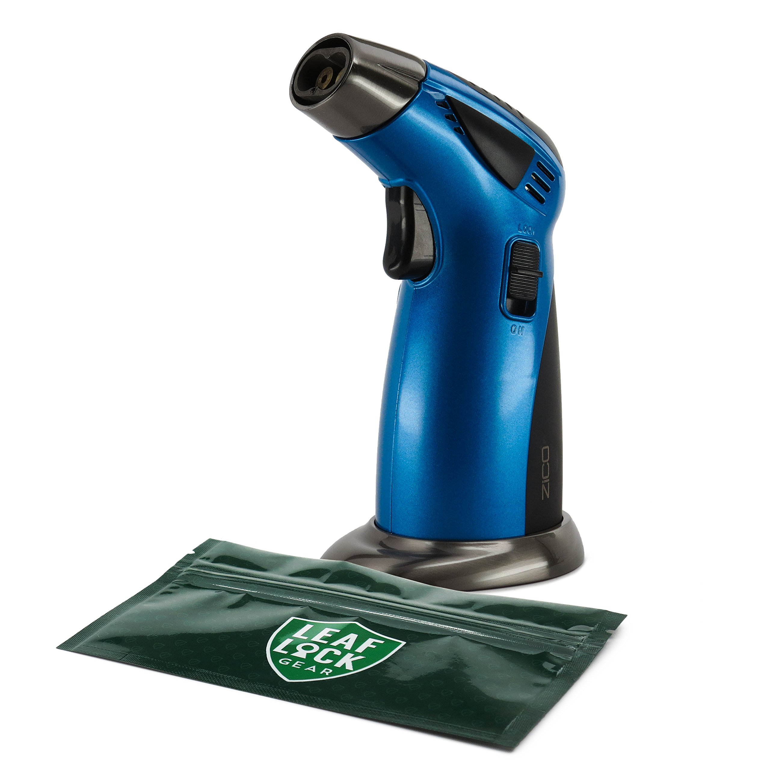 Zico MT39 Table Top Torch Lighter (Blue) with Leaf Lock Gear Spill Proof Pouch by Zico, Leaf Lock Gear (Image #1)