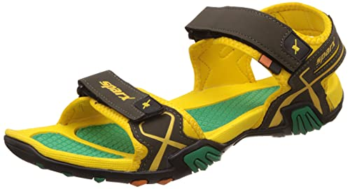 fa6c75af89ed4f Sparx Men s Olive Green and Yellow Athletic   Outdoor Sandals - 10 UK India  (