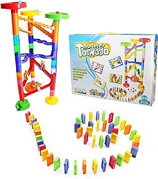 VERZABO - Juego de marmoles para Carreras, para niños, para niños de 4 a 6 años y más de 85 años, Efecto dominó Tornado, Efecto Creativo de mármol, Gran cumpleaños: Amazon.es: Juguetes y juegos