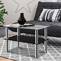 Artiss 2-Tier Tempered Glass Coffee Table Black - 90(L) x 45(W) x 43(H) cm
