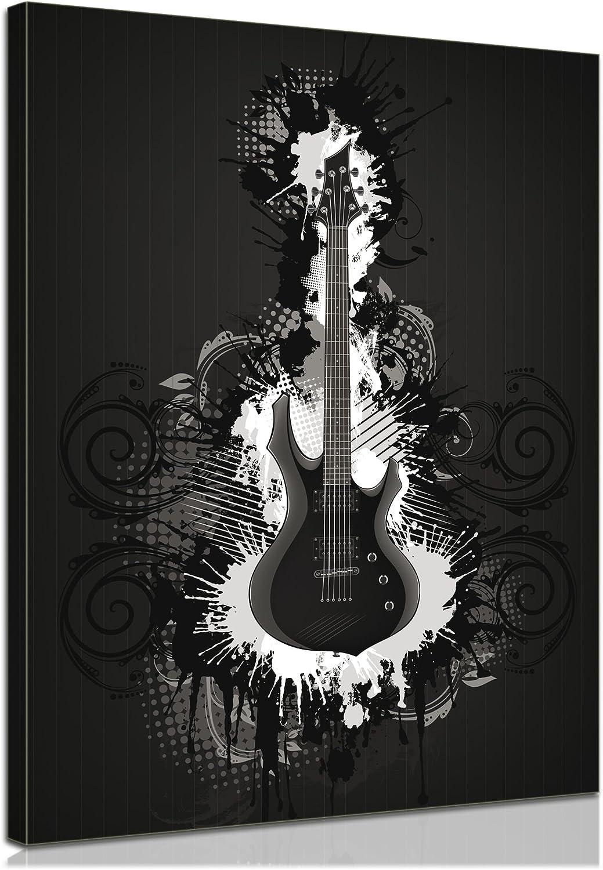 Bilderdepot24 Bastidor Imagen - Cuadros en Lienzo Guitarra eléctrica - ilustración Negro Blanco 30x40cm - Made in Germany!: Amazon.es: Hogar