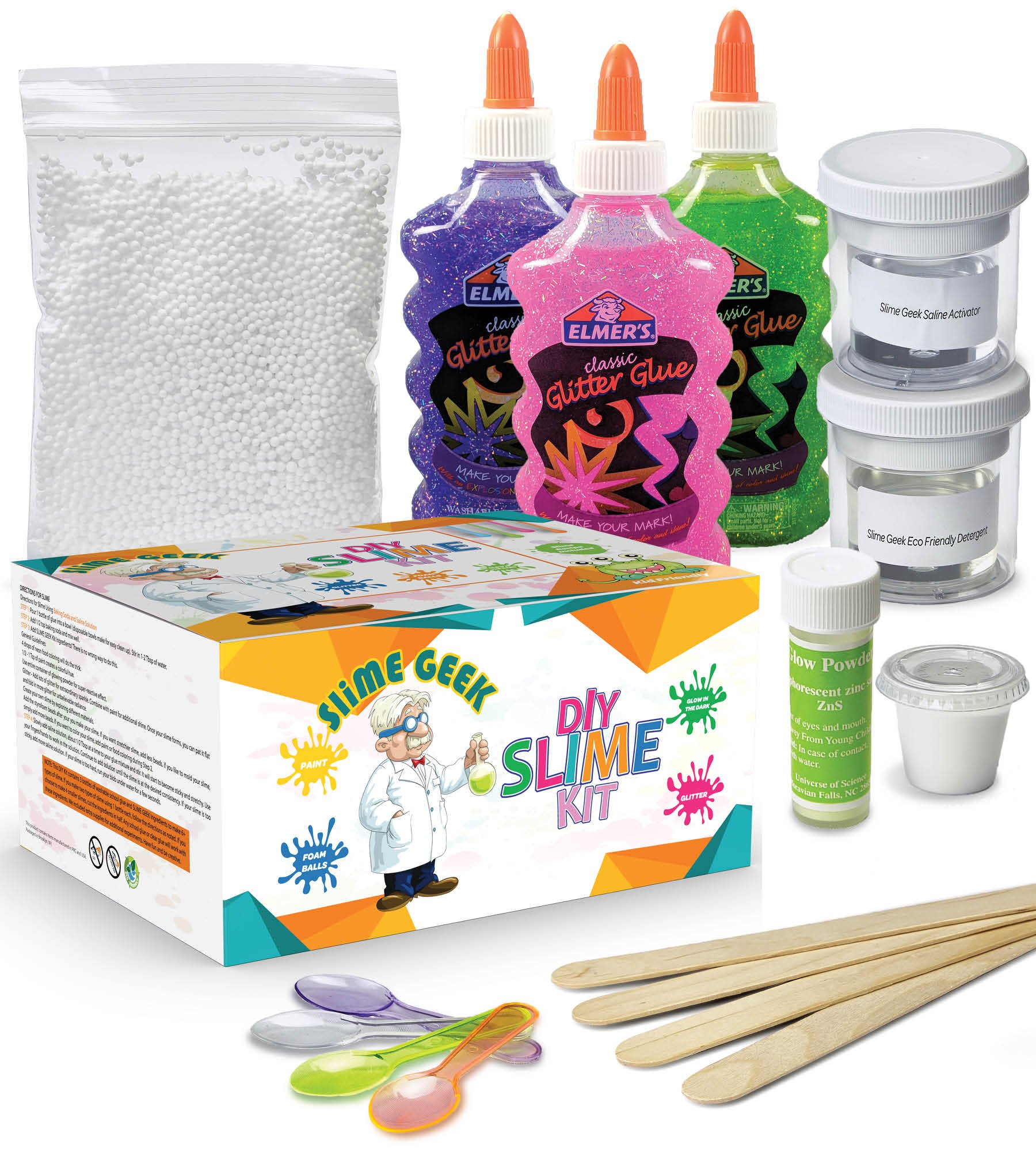 Slime Geek DIY Ultimate Slime Kit -How to make slime , Make Glow-In-The Dark, Glitter Slime - Comes With Airtight Containers for Slime Storage - Comes with Recipes and Bonus E-Book