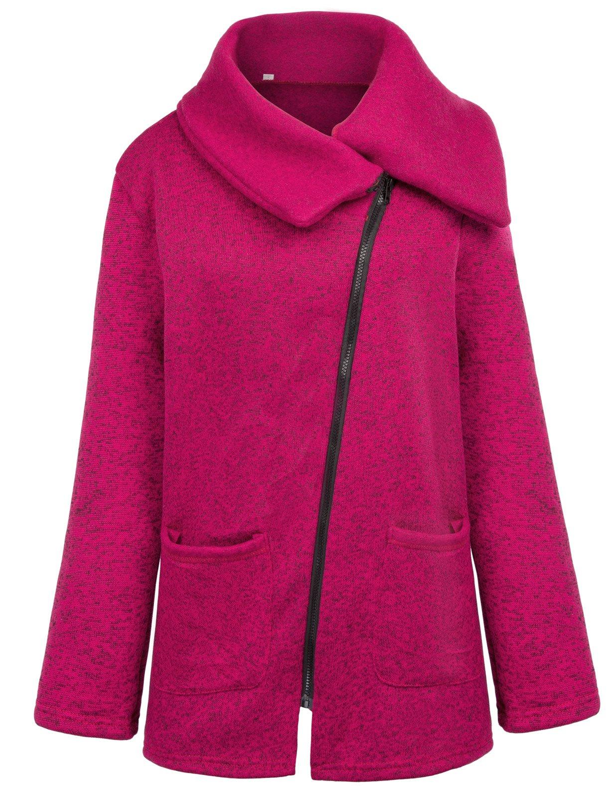 Grace Karin Fashion Women Soft Breathable Full Zip Fleece Coat XXL Burgundy