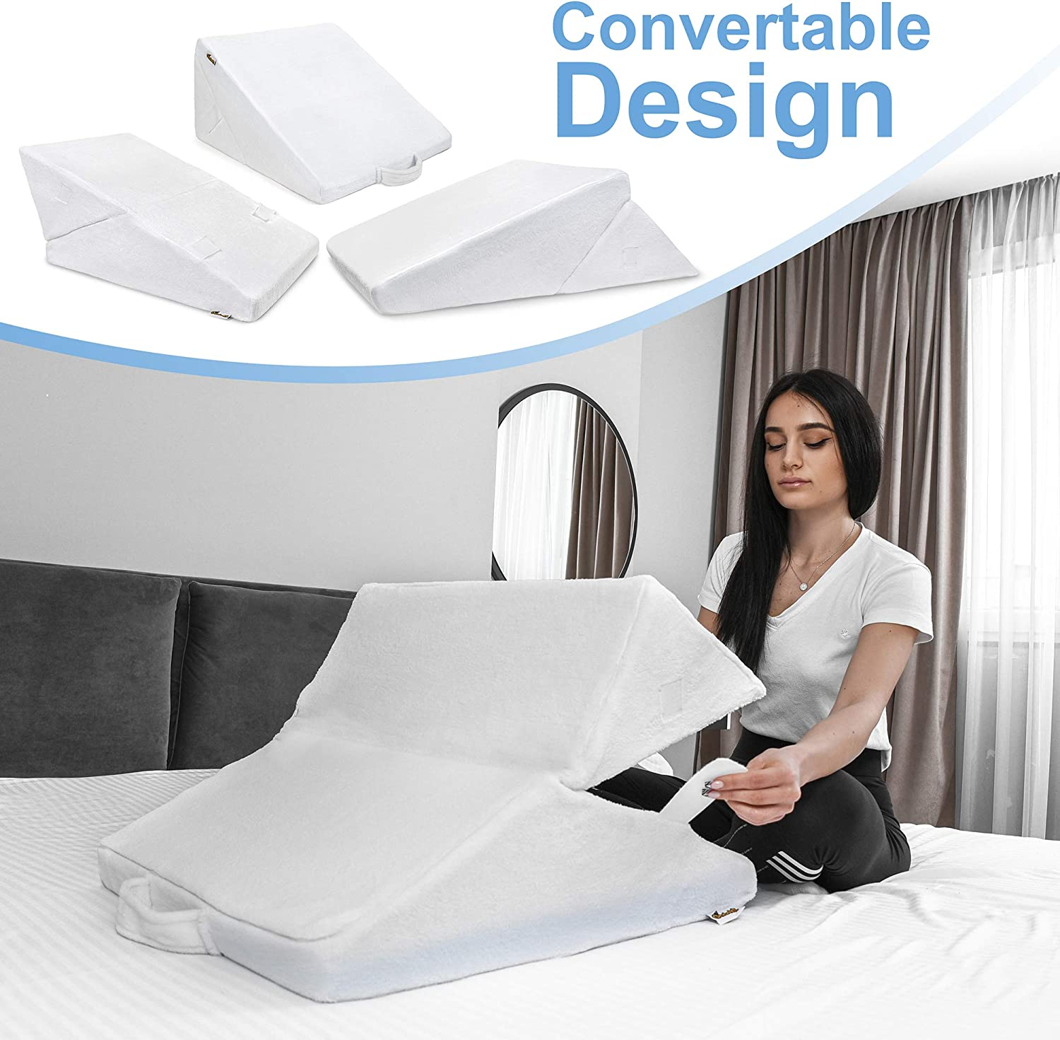 Bed Wedge Pillow – Multipurpose Adjustable Leg Support Pillow – Cooling Gel Memory Foam Top - Helps for Acid Reflux Heartburn, Allergies, Snoring - Machine Washable Soft Plush Cover with Handle, White: Home & Kitchen