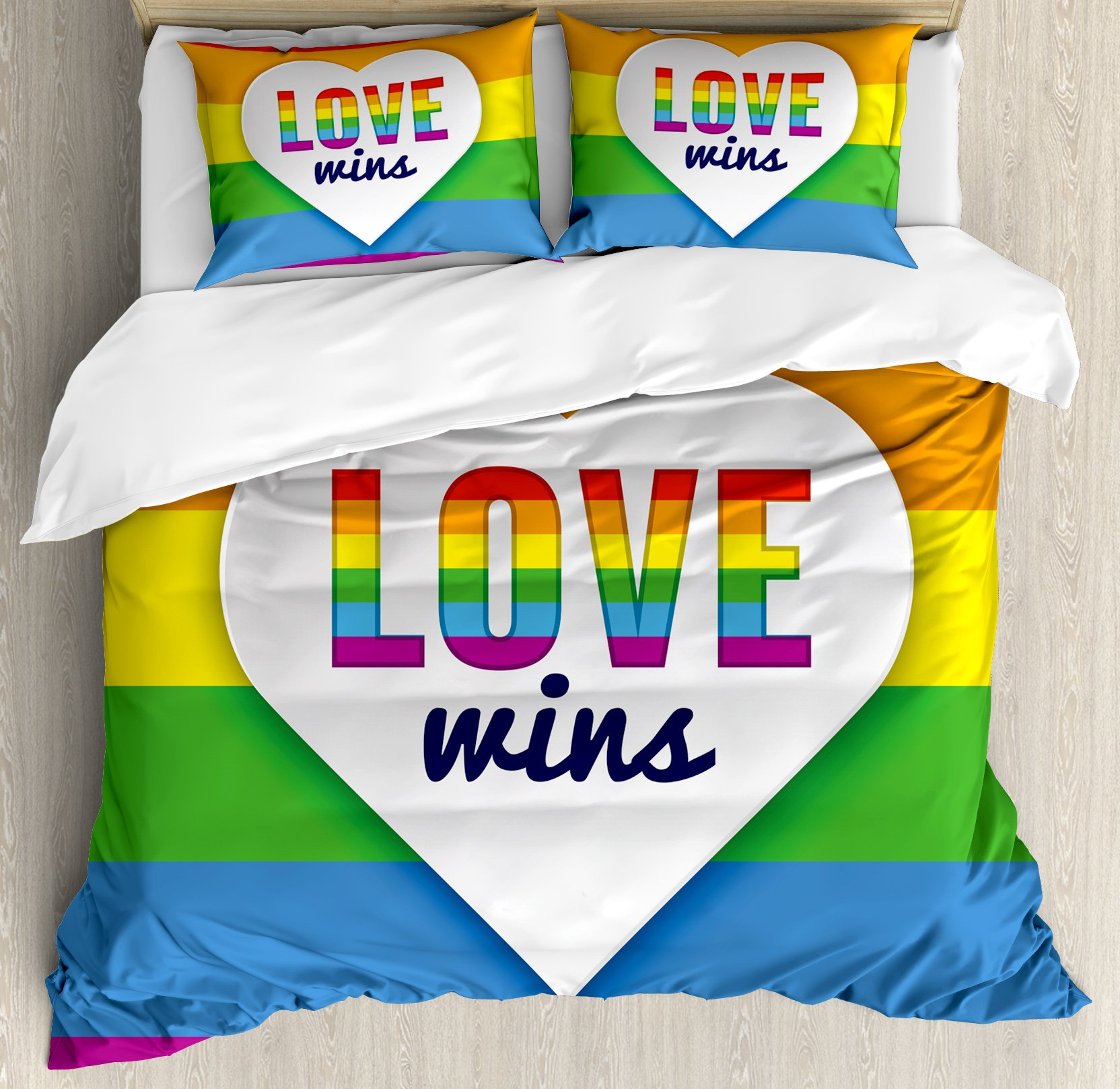 Pride Decorations Queen Size Duvet Cover Set by Ambesonne, Rainbow Flag Stripes Heart Symbol with Love Wins Text LGBT Culture Colors, Decorative 3 Piece Bedding Set with 2 Pillow Shams, Multicolor