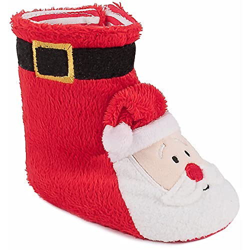 Christmas Boots For Girls.Amazon Com Red Santa Christmas Slipper Boots For Baby Boys
