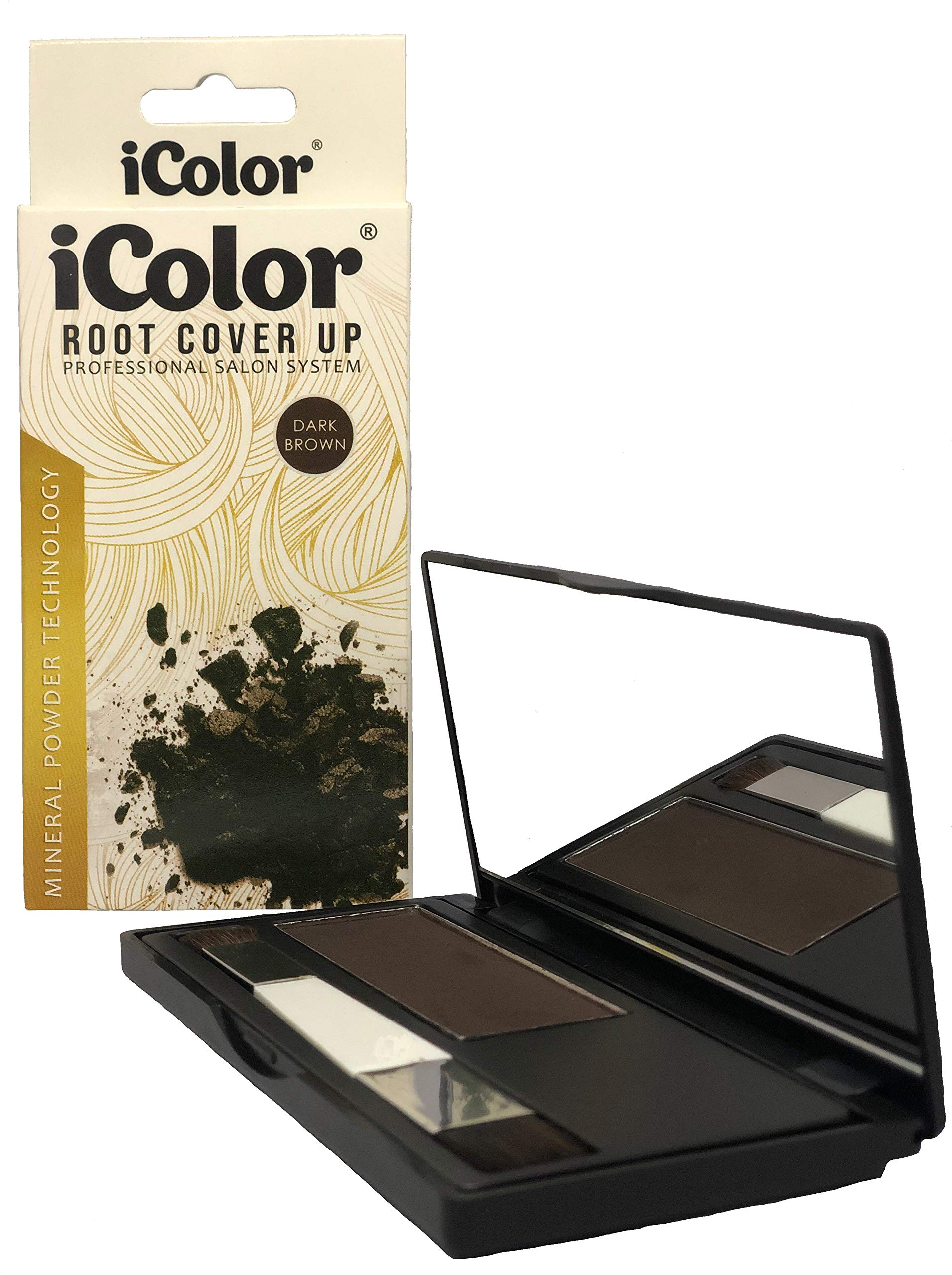 iColor Root Cover Up Dark brown Hair Instant Root Concealer to Cover Roots and Grays - Water Resistant - Thinning hair Concealer by Great Lengths