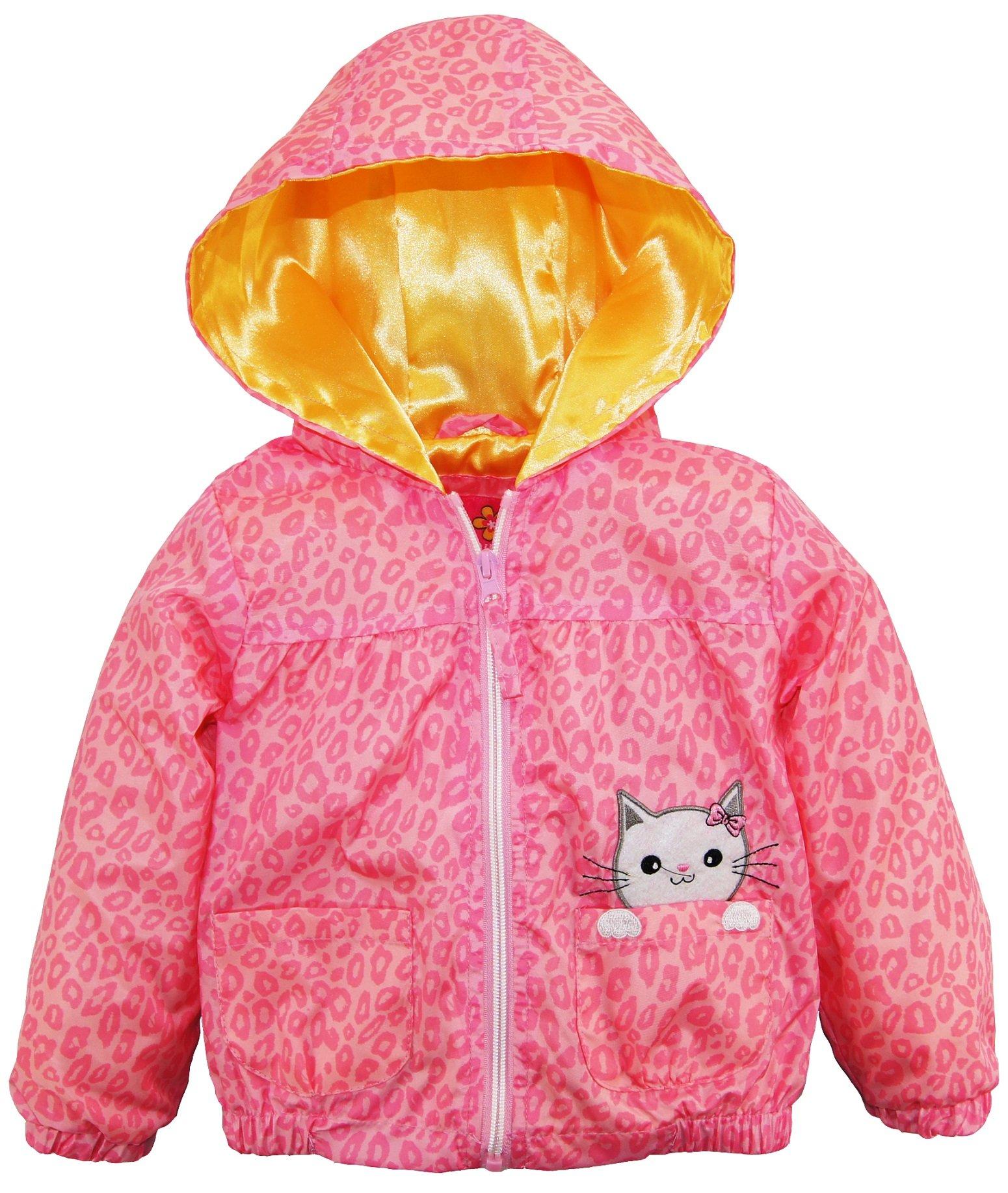 Pink Platinum Little Girls Cheetah Kitty Windbreaker Jacket Hooded Spring Coat, Pink, 4T