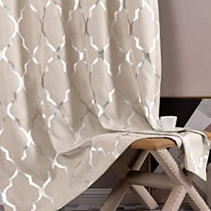 jinchan Moroccan Tile Print Linen Textured Panels for Bedroom Grommet Top Flax Linen Look Curtain Textured Kitchen Window Treatment Set for Living Room 54 inch Silver on Flax