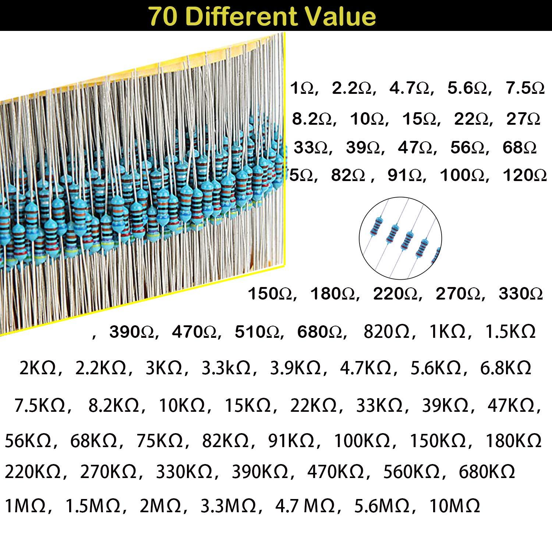Bluees assortimento di resistenze con scatola per progetti fai da te e esperimenti resistenze assortite 1/% 70 valori kit di resistori 1400 pezzi resistenze 1 Ohm -10M Ohm 1//4W