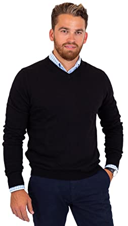 21c1e5b42e03 CANALSIDE Men s Wool Cotton Knit Sweater Comfortably Fitted V and ...