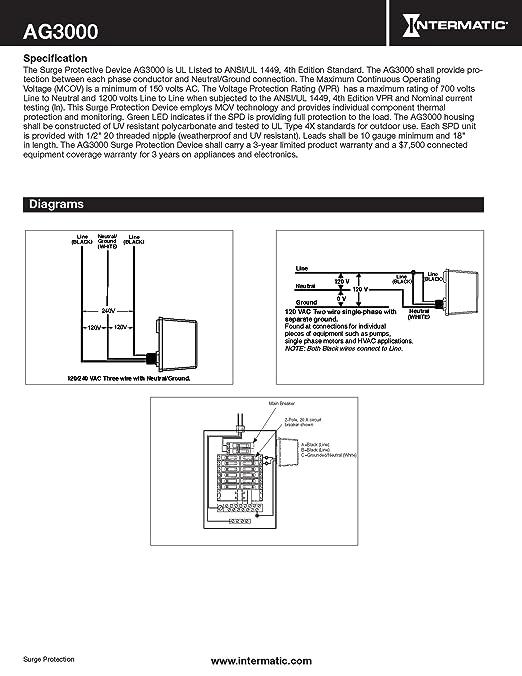 817ymGHR9gL._SX522_ amazon com intermatic ag3000 120 240 vac universal hvac surge