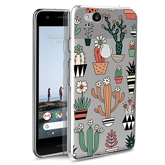 new concept 4a07c 81833 Google Pixel 2 Case, POKABOO Custom Floral Cactus Girls Clear Soft Silicone  Non-Slip Shockproof Full Protective Phone Case for Google Pixel 2