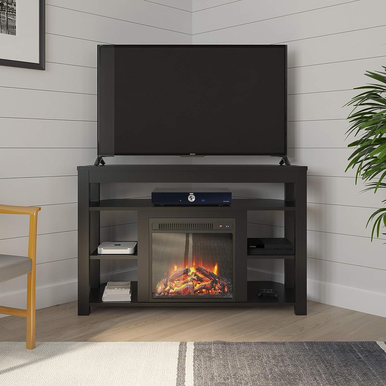 "Ameriwood Home Parsons Corner Fireplace 55"", Black TV Stand,"