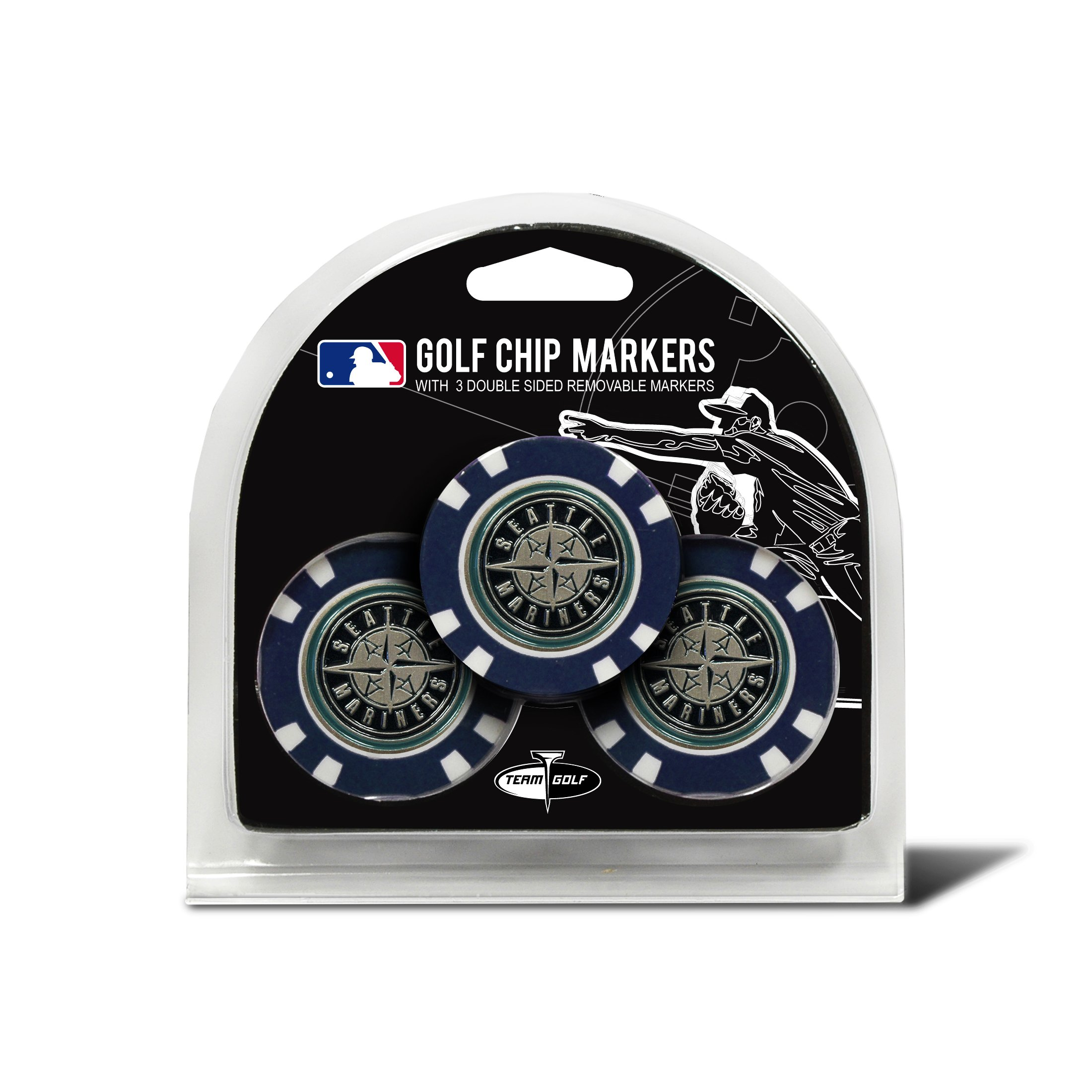 MLB Seattle Mariners 3 Pack Golf Chip Ball Markers