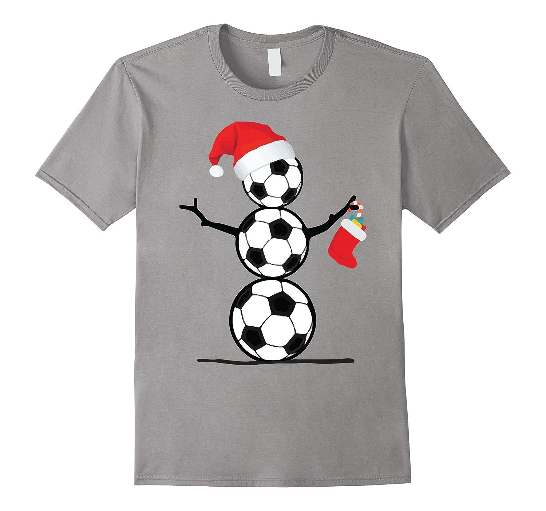 Funny Christmas Shirts Soccer Snowman T-Shirt-RT