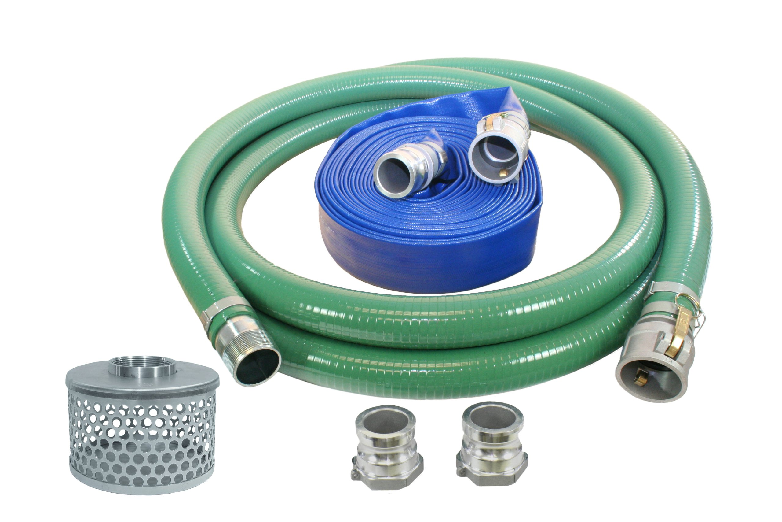Abbott Rubber PVC Suction and Discharge Hose Pump Kit, Green/Blue, 1-1/2'' Male X Female Aluminum Cam and Groove, 1-1/2'' ID by Abbott Rubber