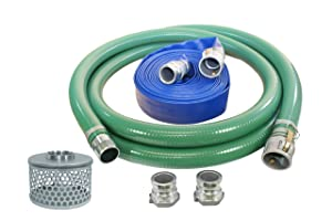 "Abbott Rubber PVC Suction and Discharge Hose Pump Kit, Green/Blue, 2"" Male X Female Aluminum Cam and Groove, 2"" ID"