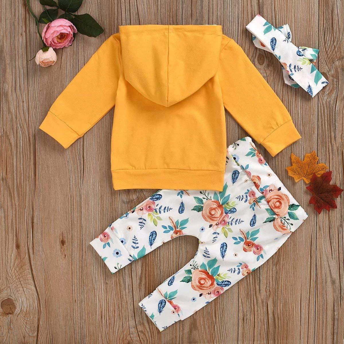 Pantalones Trajes DaceStar Reci/én Nacido Ni/ñas Ropa 3PCs Conjunto de Trajes con Manga Larga Floral Sudadera Tops