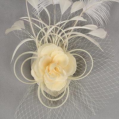 AJOG Femmes Fascinator Hair Clip Rubans Fleur Couvre-Chefs Plume De Voile Bandeau Noël Derby De Mariage Cocktail Tea Party Chapeau Casemate