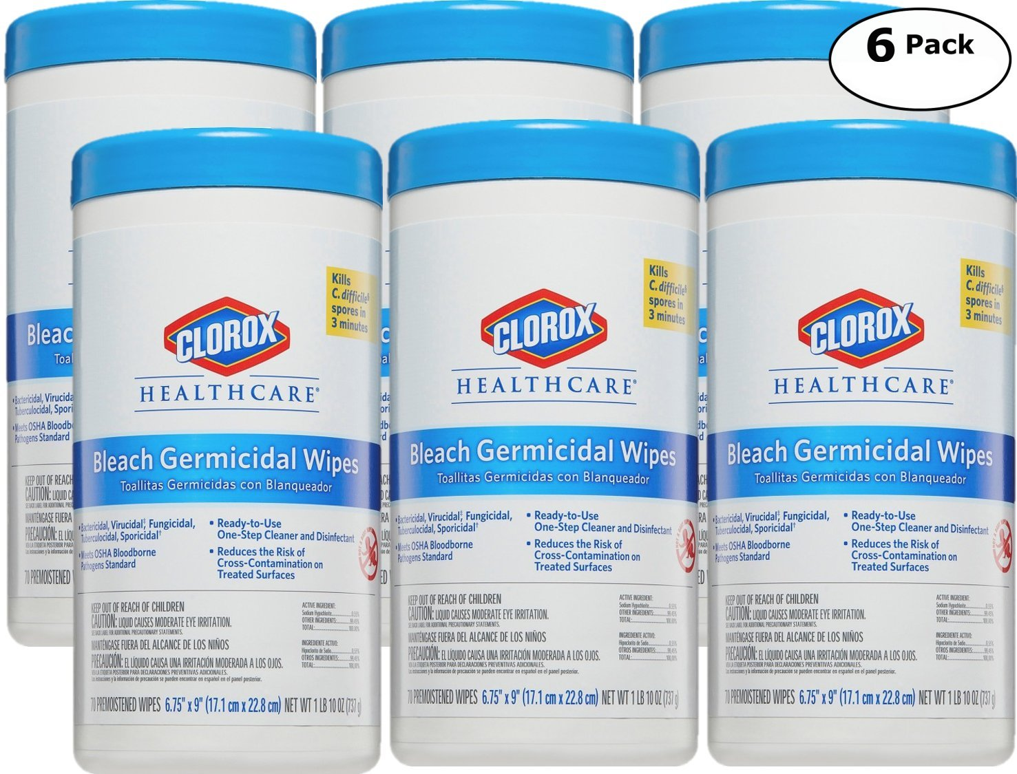 Clorox Healthcare, Professional Cleaner & Disinfectant Bleach Wipes - 70 Count x 6 Pack - Total 420 Premoistened Wipes